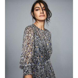 NWT Reiss Charlotte Blue Ditsy Printed Dress 12